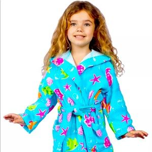 Girls Starfish Design Teal Cover Up Robe